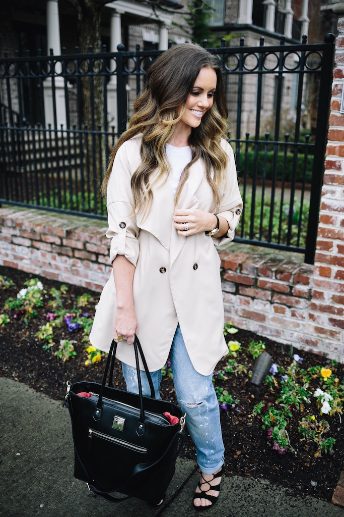 KBStyled: khaki jacket white tee boyfriend jeans diaper bag