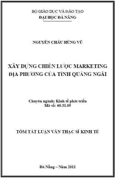 Xây dựng chiến lược marketing địa phương của tỉnh Quảng Ngãi