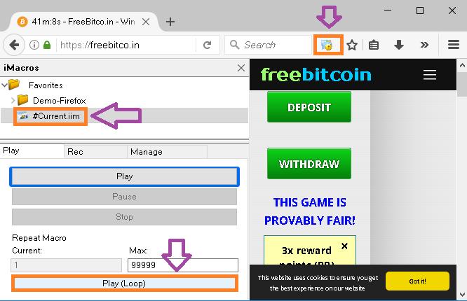 Auto bitcoin script earn 50 daily step 7 click to play loop to run script ccuart Choice Image