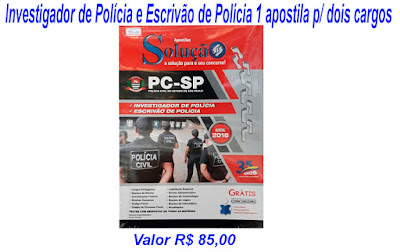 Apostila para o concurso de Investigador de Polícia e Escrivão de Polícia, 1 (uma) apostila para os dois cargos valor R$85,00.