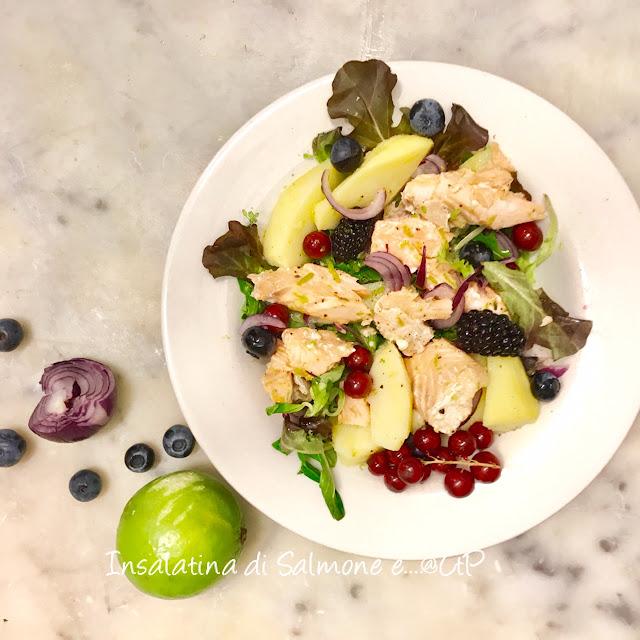 Salmone cipolla rossa, patate e frutti di bosco alessandra ruggeri