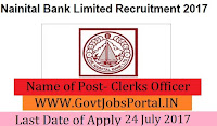 Nainital Bank Limited Recruitment 2017– Clerks Officer