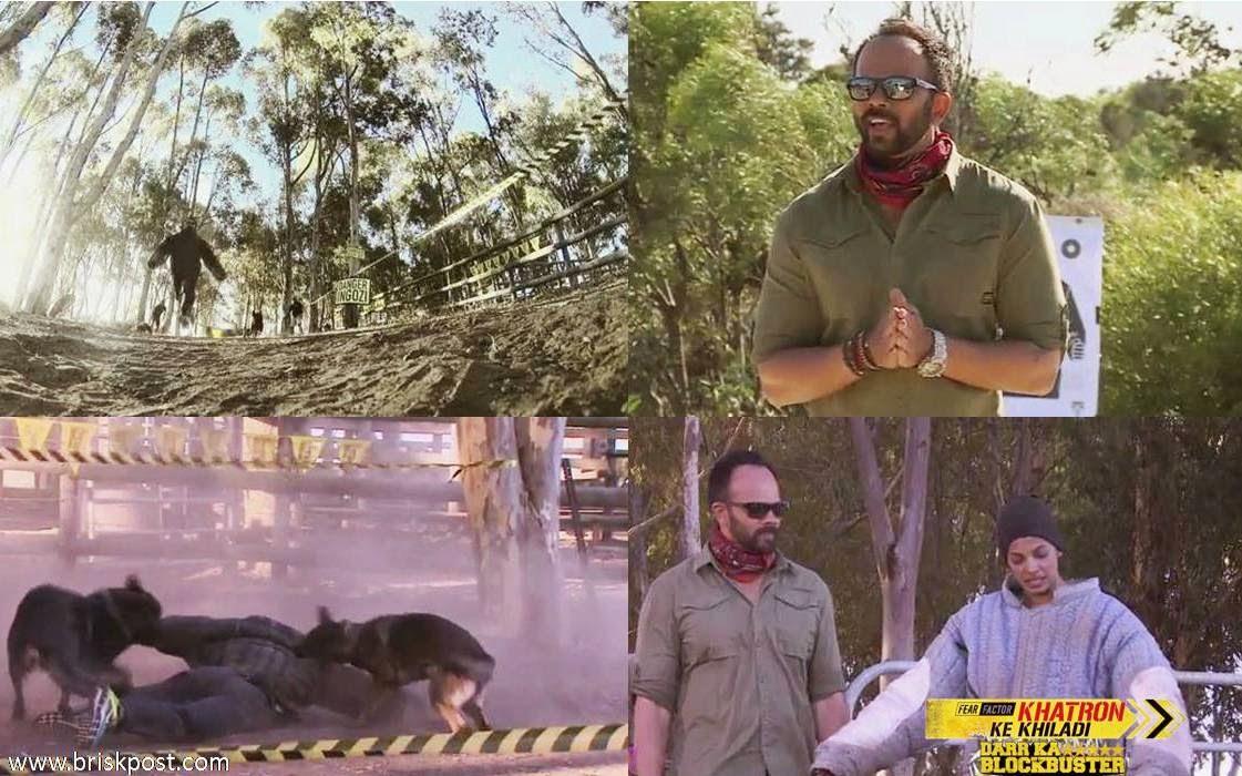 Fear Factor Khatron Ke Khiladi 5 contestnts Ranveer, Rajneesh, and Mugdha running from horrible dogs during a Darr Ka Blockbuster stunt