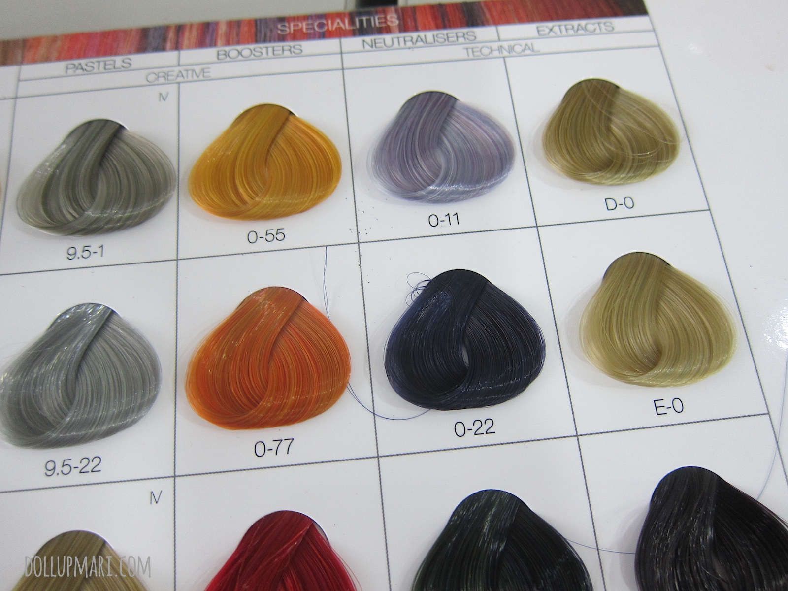 Schwarzkopf Color Chart for shades 9.5-1, 0-55, 0-11, D-0, 9.5-22, 0-77, 0-22, E-0