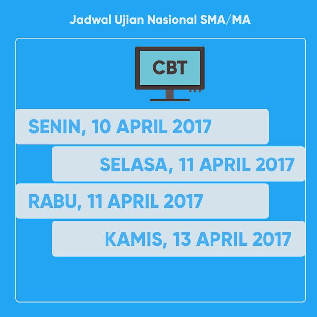 JADWAL UJIAN NASIONAL (UN) SMA/MA 2017