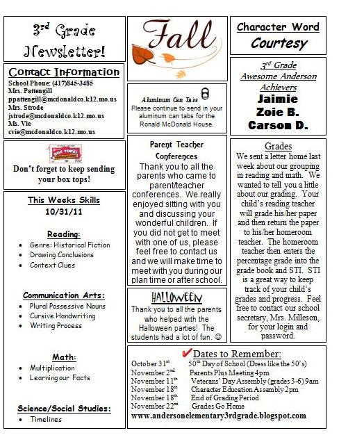Anderson 3rd Grade: Newsletter and Homework 10-31-2011
