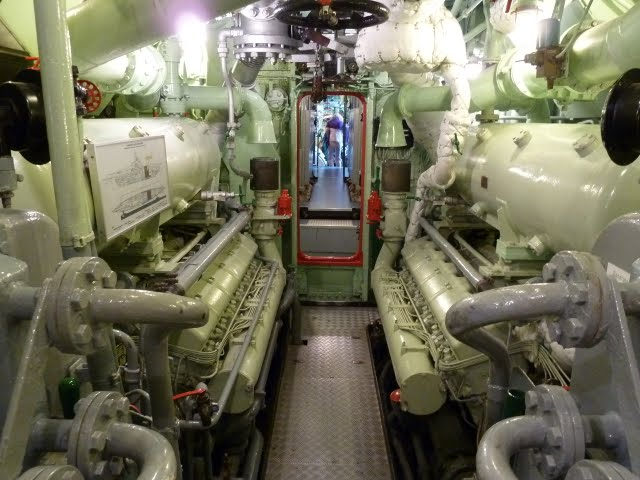 The large engine room of the Wilhelm Bauer U-2540