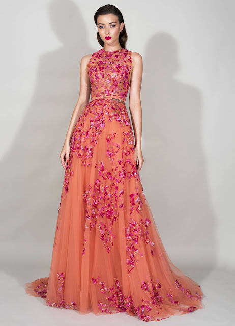 zuhair murad resort collection 2016, born in beirut, ready to wear collection spring summer 2016, flower motifs, pink dresses colors, haute couture,