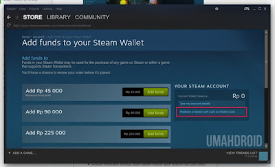 Add funds steam gift wallet code