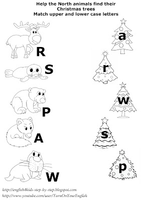 north animals christmas matching worksheet