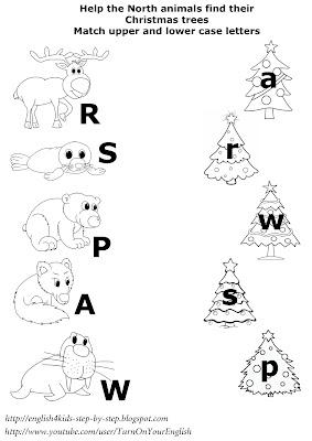 north animals christmas matching worksheet