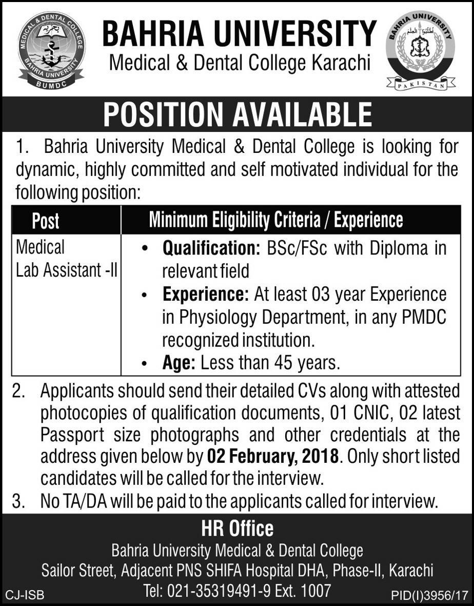 Latest Jobs in Bahria University Medical and Dental College 25 Jan 2018