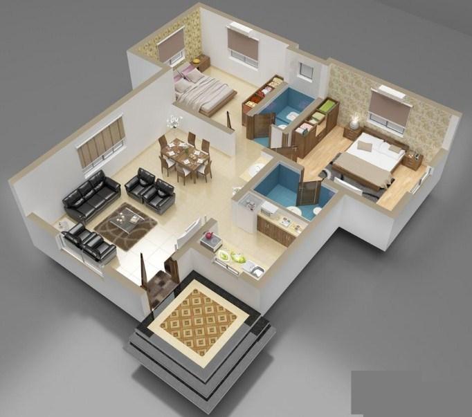 denah rumah minimalis modern gambar 3d terbaru dan masa kini