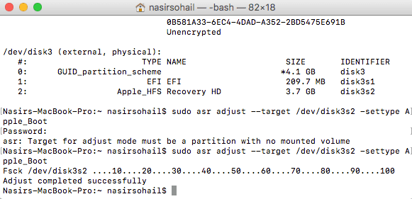 Setting the  Mac Recovery USB drive type as Apple_Bootable