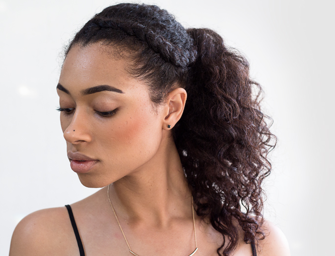 HOTD | Twist Out Ponytail with braided front