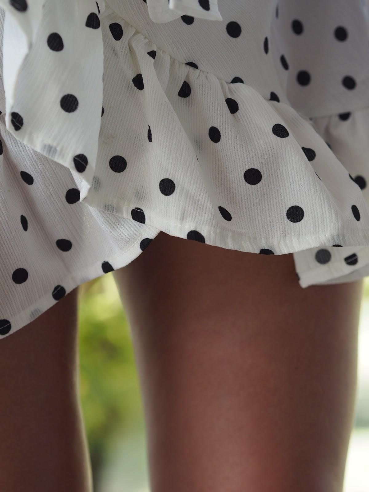Shein Polka Dot Wrap Dress Ruffles and Legs