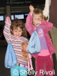 Children traveling with rental CARES harnesses for airplane travel without car seat