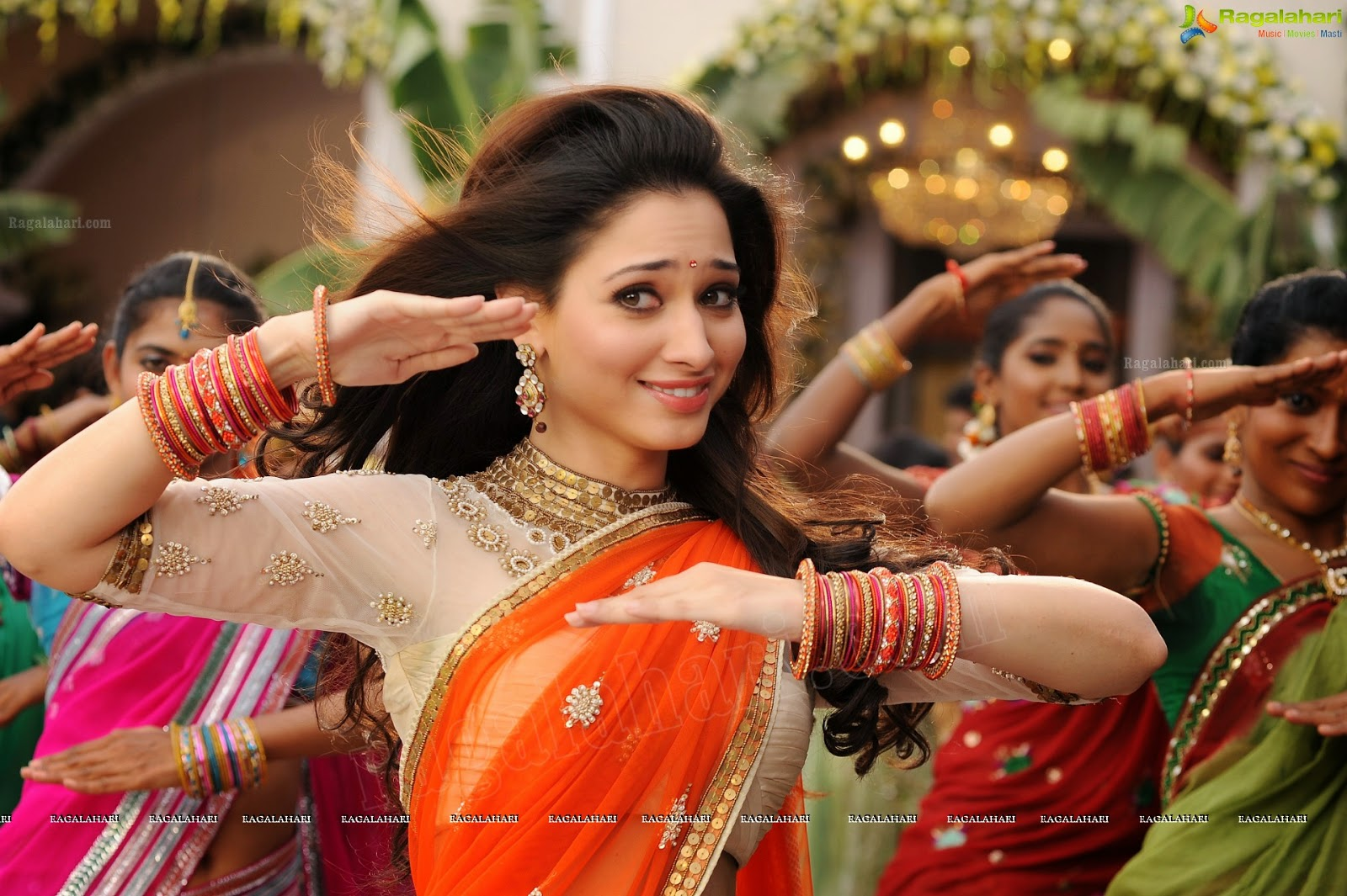 Tamanna In Tadakha Halfsaree: Indian Garam Masala: Tamanna Bhatia Orange Half Saree Hot