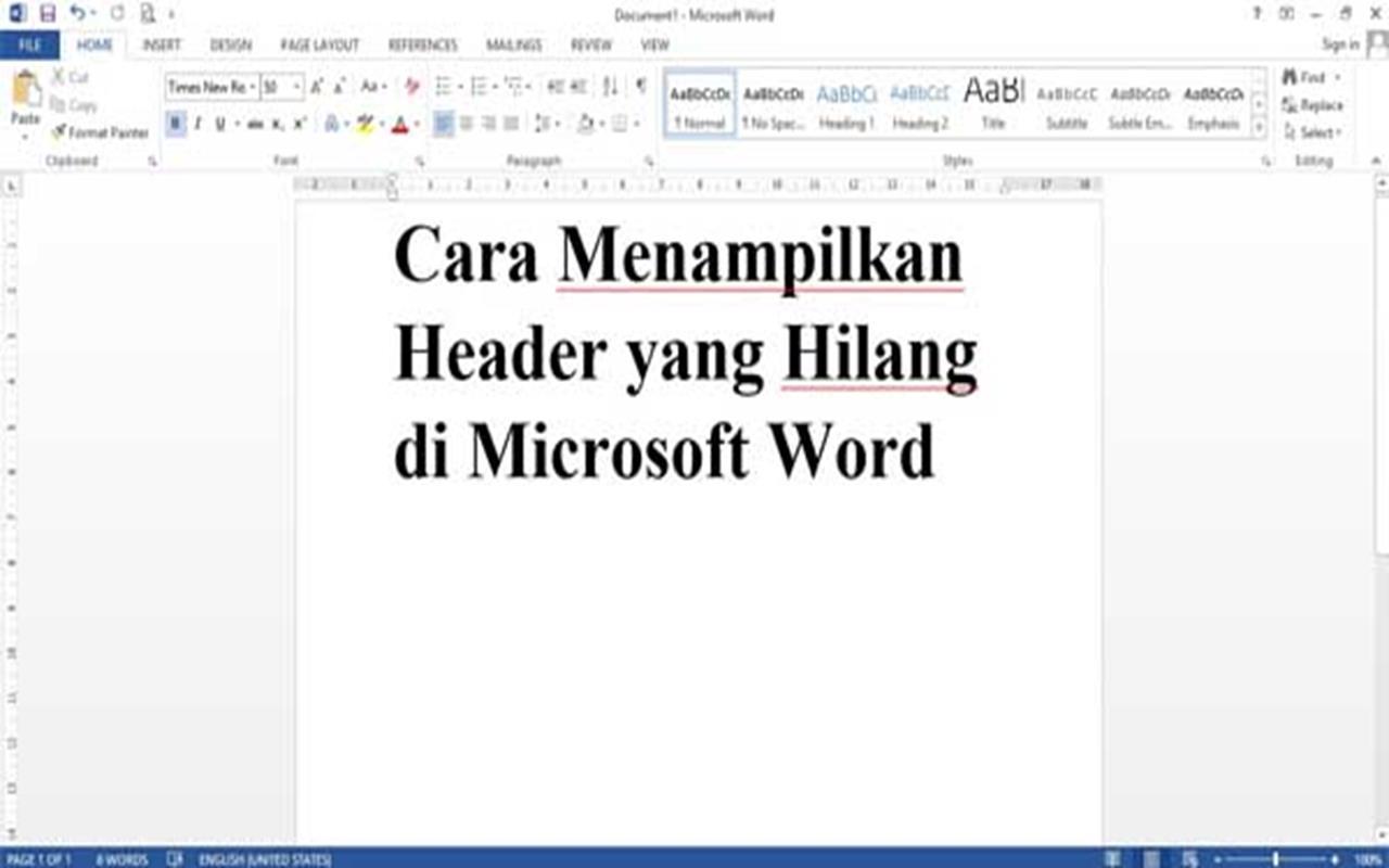 Cara Menampilkan Margin Atas atau Header yang Hilang di Microsoft Word