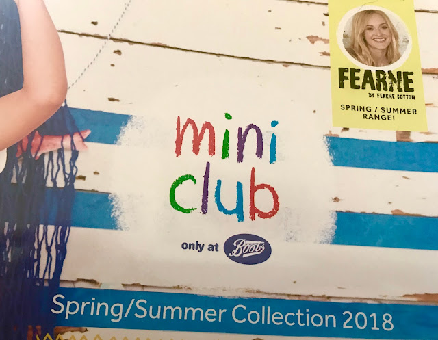 "A photograph of the front of a brochure saying ""mini club only at Boots"" Spring/ Summer Collection 2018"