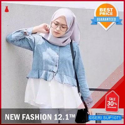 SUP1071B26 Blouse Uly Jeans Kombinasi Casual Murah BMGShop