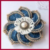 Broche flor crochet