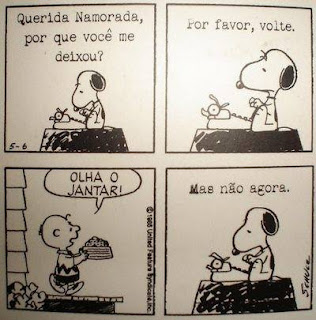 Tirinha do cartunista Schulz composta por quatro quadrinhos, apresenta o personagem Snoopy, um cãozinho da raça Beagle, branco com pintas pretas, orelhas pretas longas e caídas, olhos pequenos, focinho longo com uma bolinha preta na ponta, patas curtas e rabo também curto. Ele é extrovertido e vive num mundo de fantasias, principalmente quando dorme e filosofa em cima do telhado da sua casinha. Seus pensamentos estão escritos dentro de um balão, próximo a sua cabeça.Quadro 1: Snoopy debruçado em frente a uma máquina de escrever datilografa: Querida namorada, por que você me deixou?Quadro 2: Com as costas eretas ele continua: Por favor, volte.Quadro 3: Charlie Brown, seu dono, caminha para fora da casa, trazendo uma vasilha cheia de comida e grita: Olha o jantar!Quadro 4: Snoopy escreve: Mas não agora.