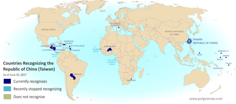 Map of who recognizes Taiwan (what countries recognize the Republic of China) in June 2017. Marks countries that have cut diplomatic ties with Taiwan (withdrawn recognition) in the last ten years: Panama, Sao Tome and Principe, and the Gambia. Also answers question: Where is Republic of China located? (Colorblind accessible)