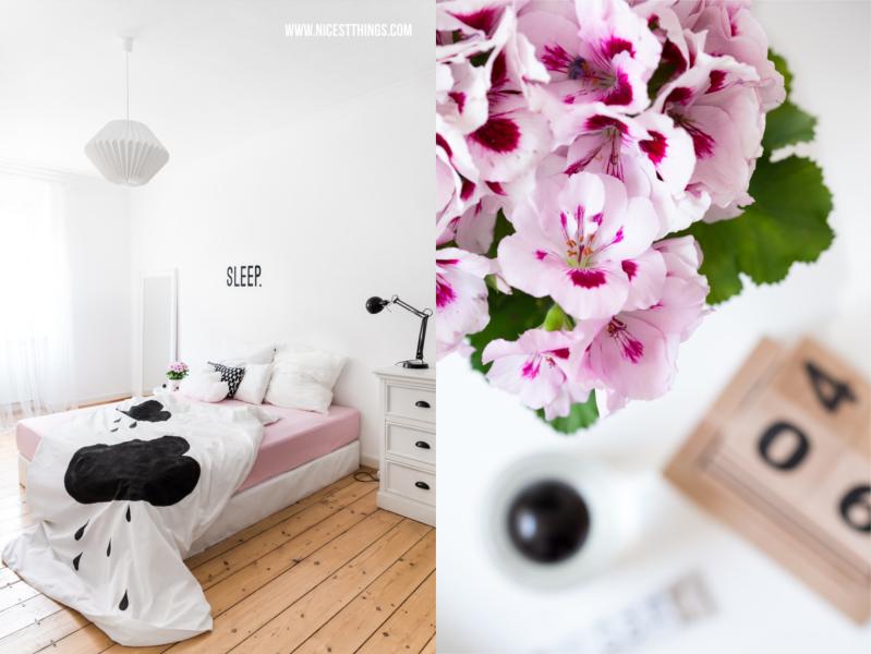 weißes Schlafzimmer mit Wolkenbettwäsche