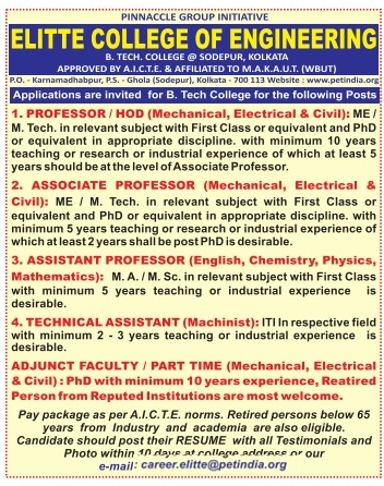 Elitte College Of Engineering Kolkata Wanted Professor