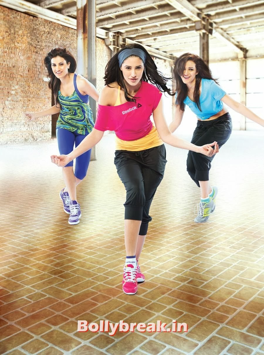 , Nargis Fakhri in Reebok Track Suit - Health Magazine Scans