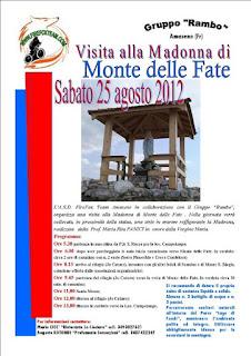 Escursione e visita alla Madonna di Monte delle Fate Sabato 25 Agosto