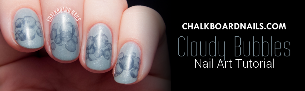 Chalkboard Nails - Cloudy Bubbles Nail Art Tutorial