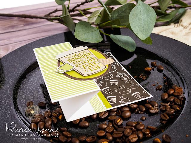 Carte à pliage original avec découpe partielle à la Big shot et le jeu café à emporter