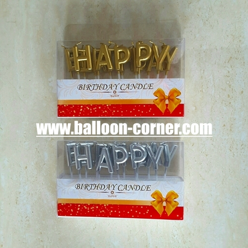 Lilin Ultah Motif Happy Birthday Warna Gold Silver New