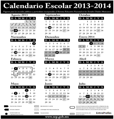 Secundaria LAZARO CARDENAS: Calendario Escolar