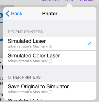 List of printer simulators inside IOS app running on simulator