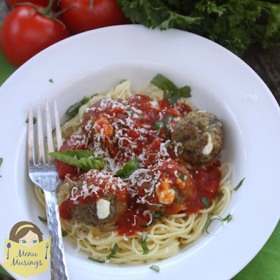 Mozzarella Stuffed 3-Meat Italian Meatballs_menumusings.com