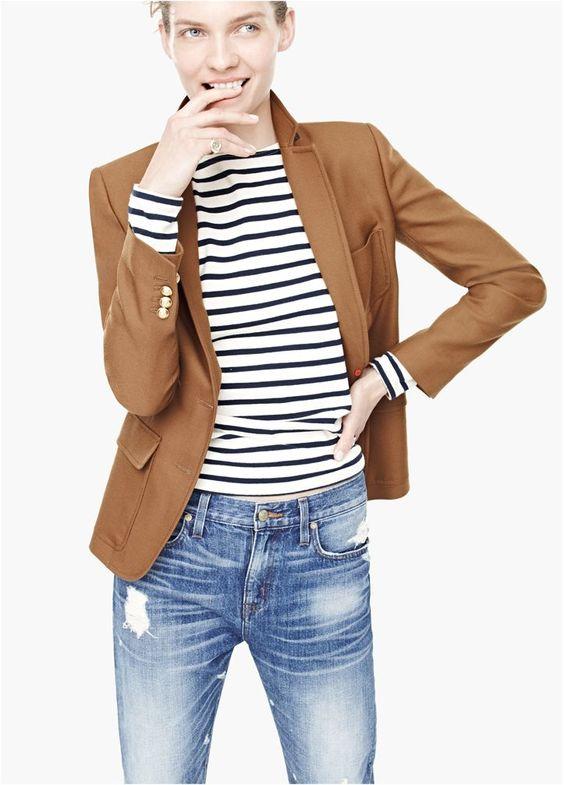camel blazer and stripes