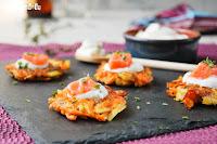 Tortitas de boniato con salmón ahumado