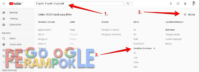 cara memfilter hasil pencarian lagu tanpa hak cipta di youtube