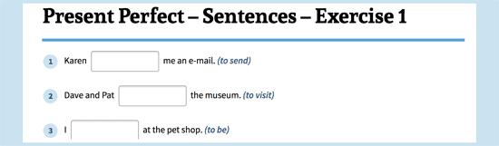 Present Perfect Sentences
