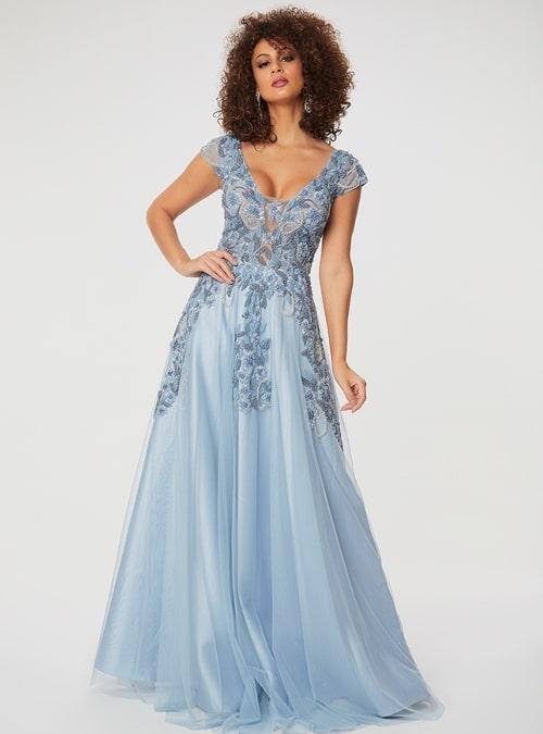 vestido de festa longo azul claro com manga curta