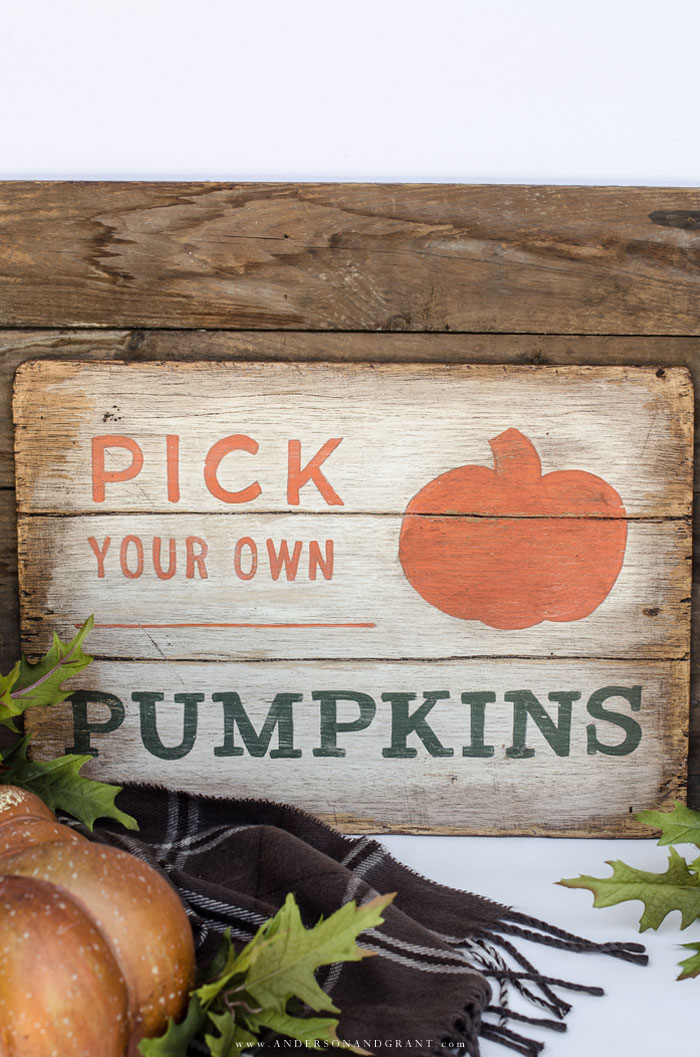 Pick Your Own Pumpkins Fall Sign