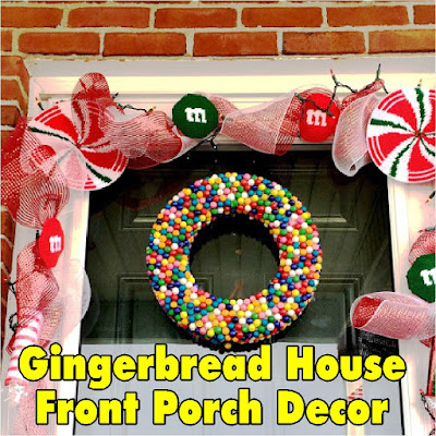 Turn your front porch into a Gingerbread House with these cute and fun plastic canvas ideas.  You'll be enjoying some fun Christmas front porch decorations and be the sweetest house on the block. #gingerbreadhouse #frontdoor #porchdecor #christmasdecor #diypartymomblog