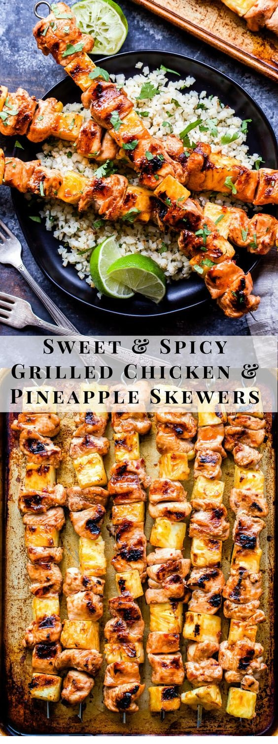 Sweet And Spicy Grilled Chicken And Pineapple Skewers