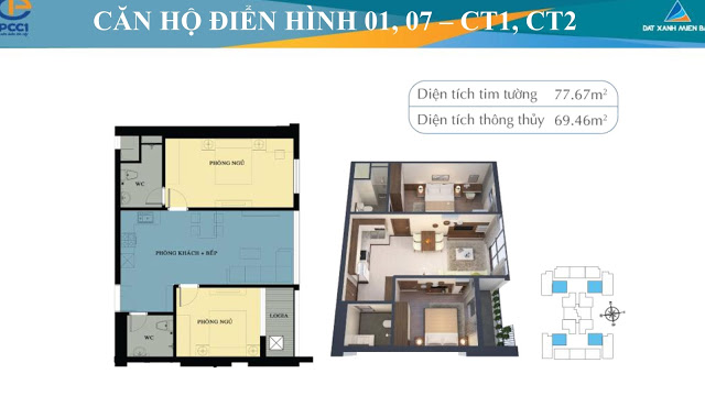 Thiêt kế căn hộ Mỹ Đình Plaza 2 PCC1