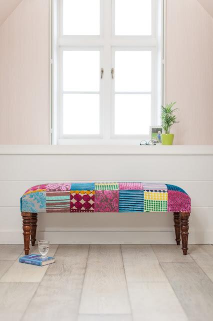 velvet patchwork bench - velvet spring trend