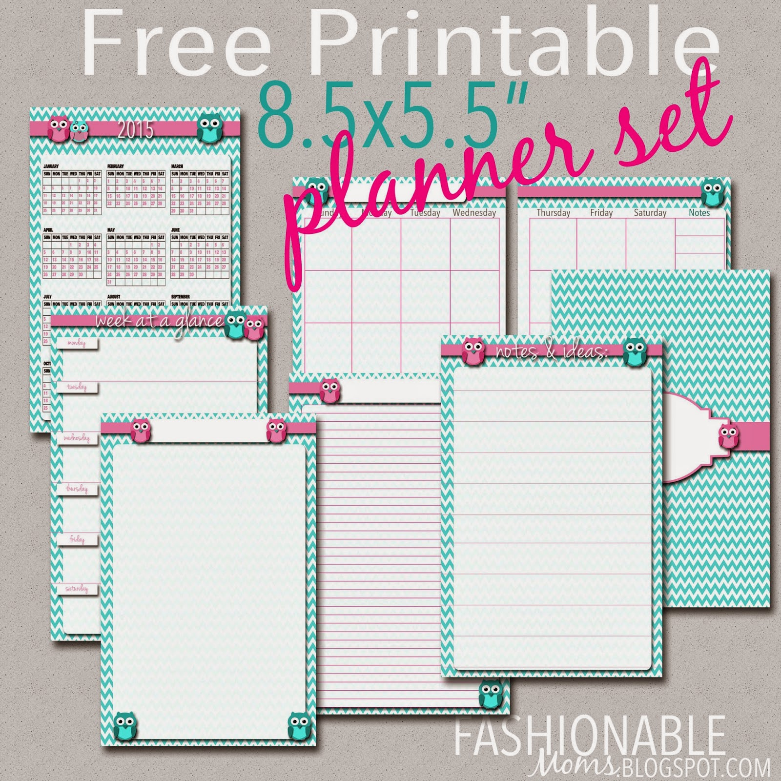 My Fashionable Designs Free Printable Half Page Owl Planner Set