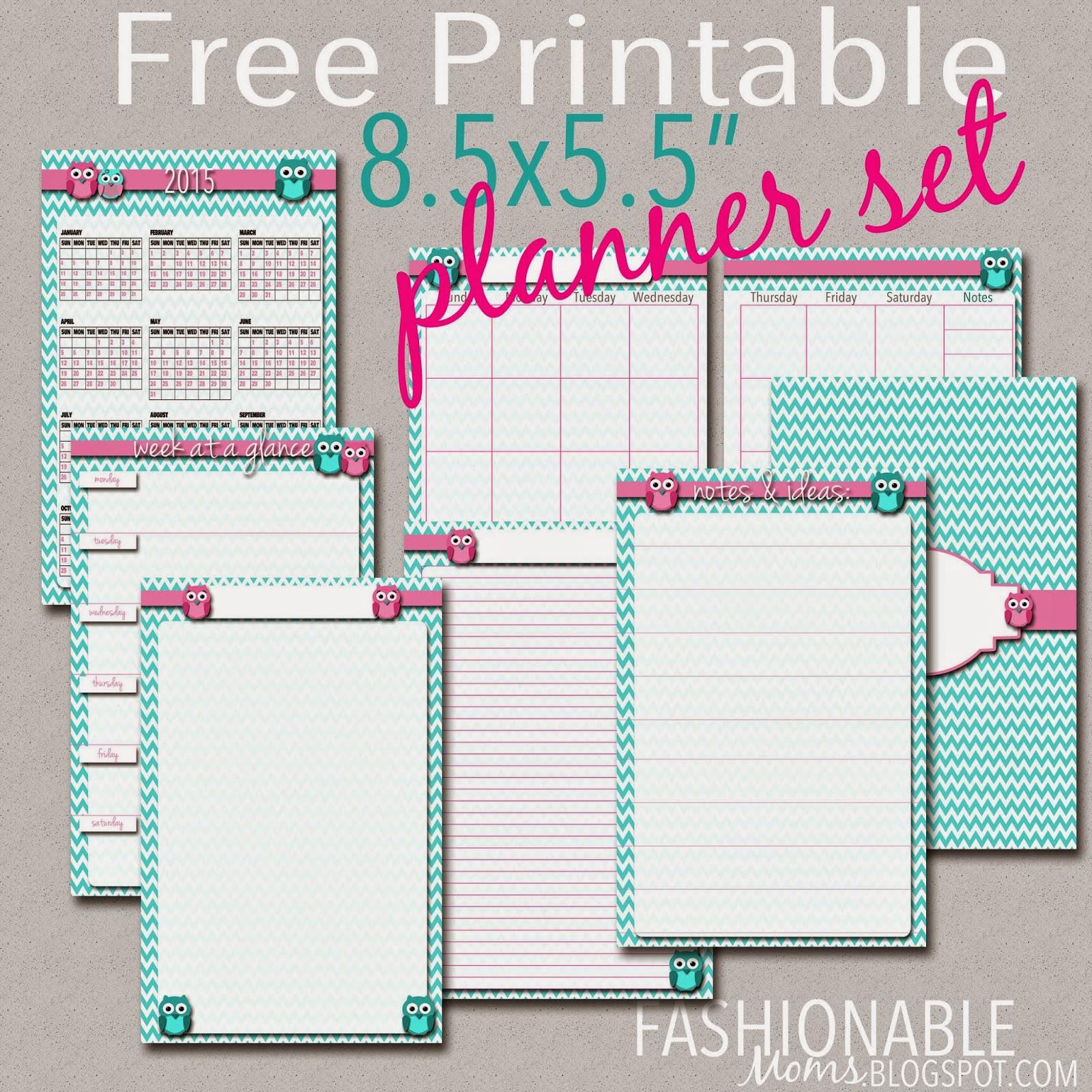 Fashionable Moms Free Printable Half Page Owl Planner Set